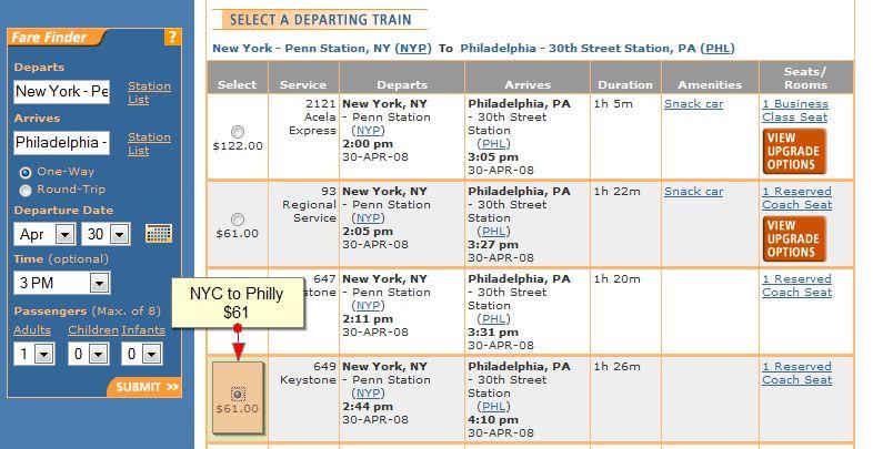 Same money on amtrak rides between nyc and philadelphia